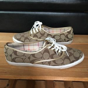 Coach Audrina Signature Sneakers Tan Lace Up